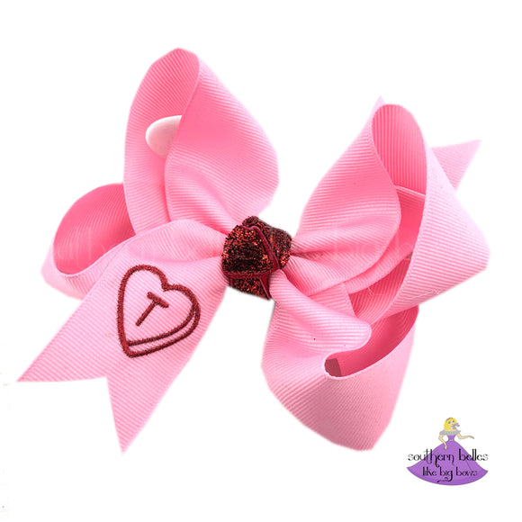 Personalized Valentines Hair Bow for Little Girl or Toddler