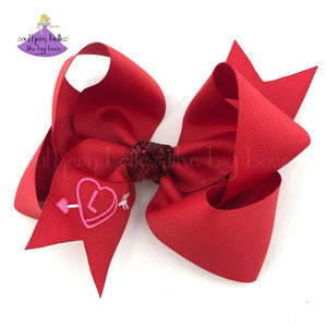 Personalized Valentine's Day Hair Bow with Heart and Arrow Initial Letter