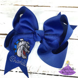 Royal blue Vancleave bow personalized with a name