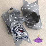 Grey Polka Dot Personalized Vancleave Bow