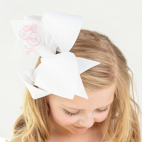 Jumbo White Monogram Hair Bow made in the boutique bow style