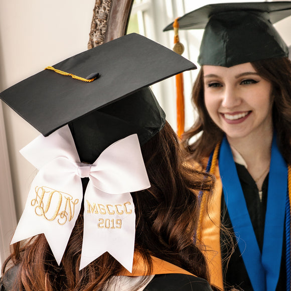 Personalized White Graduation Cap Decoration Bow with Monogram and School Letters in Metallic Gold