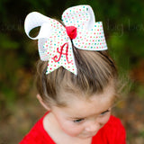 Christmas Polka Dot Hair Bow with Personalized Initial Letter