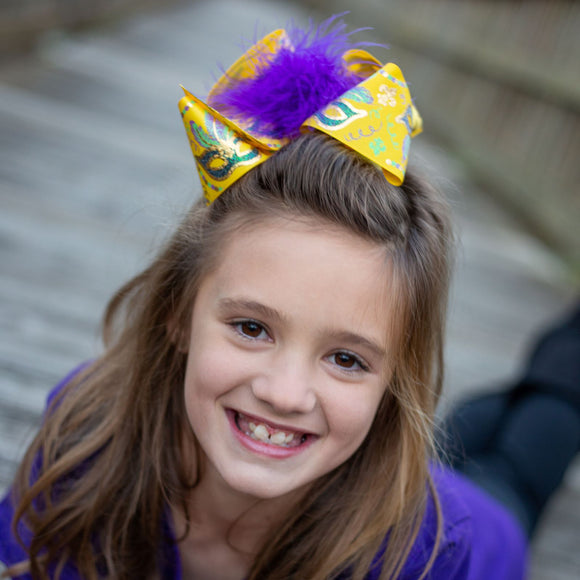 Big Yellow Mardi Gras Parade Hair Bow