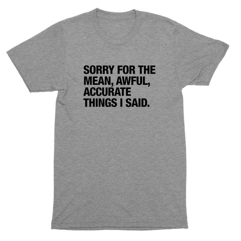Sorry For The Mean Awful Accurate Things I Said T-Shirt, Tank Top, Baseball Tee, Sweatshirt, Hoodie