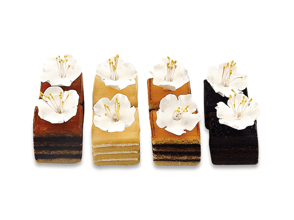 Square Glass Pastries II With Flowers - World of Chantilly