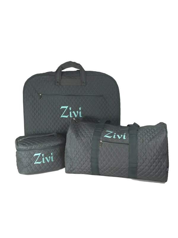 Grey Quilted Luggage Set
