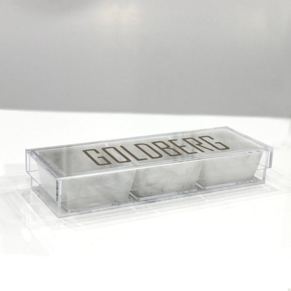 Marble Lucite 3 Dip Holder