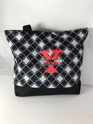 Yehudis Black Geo Tote Bag