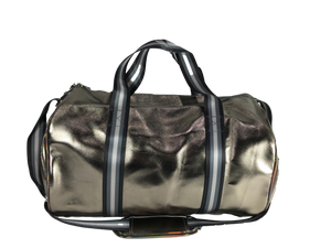 Metallic Duffel Bag with Printed Straps