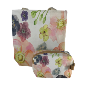 Floral Tote Bag & Cosmetic Bag Set