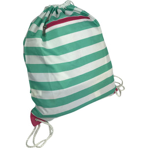 Mint/White Drawstring Camp Bag