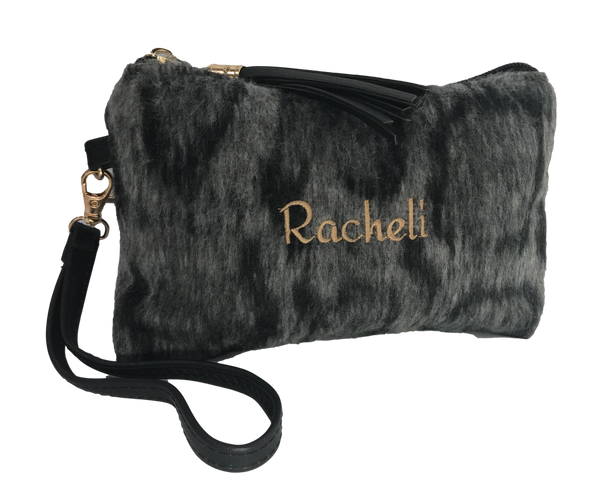 Fuzzy Animal Print Wristlet