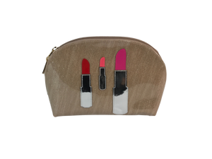 Lipstick Applique Makeup Bag