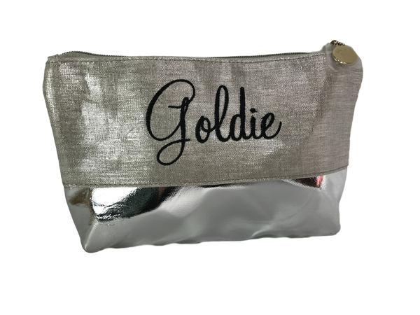 Metallic Linen Cosmetic Bag