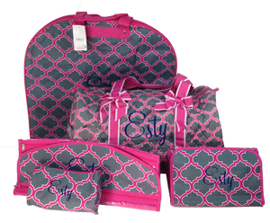 Pink Quatrefoil Luggage Set