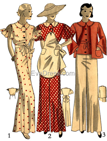 Pattern Tour, the 1933 Garden Ensemble of Pajamas and Apron, NL30-1241