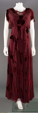 1930's Cut Velvet Evening Gown