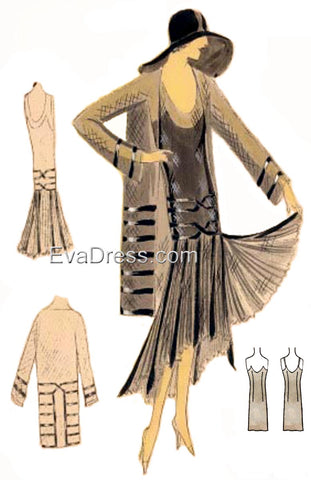 1930 Dress, Slip, Hat & Coat