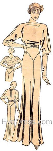 1933 Evening Gown with Cut-Away Sleeve Pattern