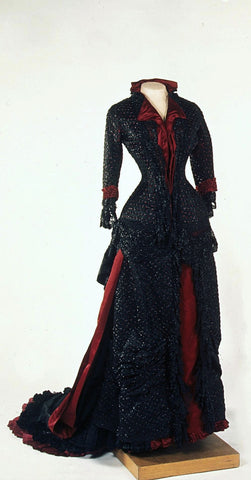 1880's Dress with jet beaded polonaise