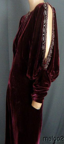 1930's Velvet Evening Gown with Cut-Away Sleeve