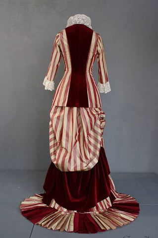 1880 silk taffeta and velvet dress, back view