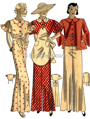 1933 Garden Ensemble of Pajamas and Apron NL30-1241