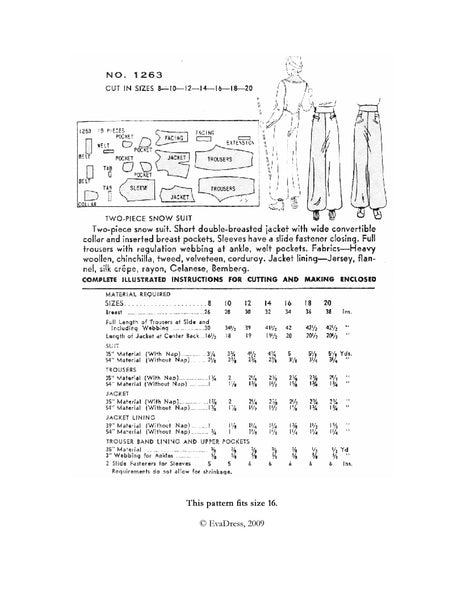 E-PATTERN 1936 Snow Suit E1263