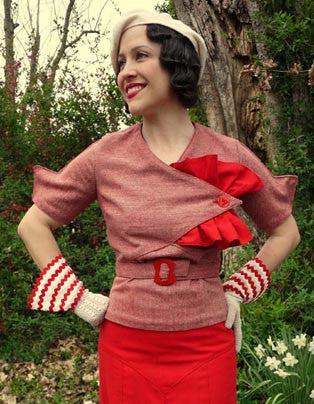 E-PATTERN 1934 Blouse with Jabot, E1444