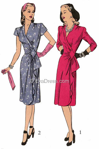 E-PATTERN 1943 Wrap Dress E1484