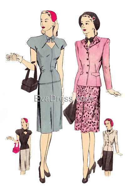 E-PATTERN, 1940's Two-Piece Dress & Blouse E1519