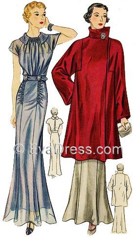 1936 Evening Gown & Wrap, E30-1965