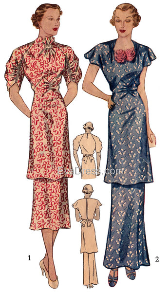 1936 Day or Evening Tunic Dress D30-2089