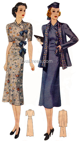E-PATTERN 1938 Dress & Reversible Jacket E2653