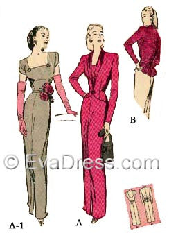 E-PATTERN 1944 Dinner Dress & Jacket, E3162