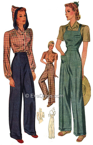 E-PATTERN 1940 Hooded Blouse, Wide Leg Trousers and Overalls E3322