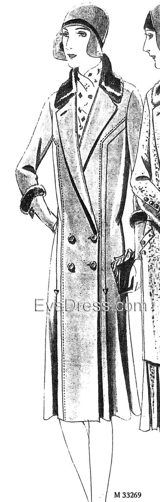 1929 Double-Breasted Coat with Fur Trim C20-33269