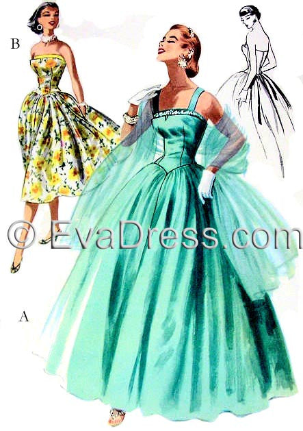 1955 Evening Gown & Stole E50-3399
