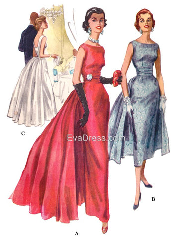 1955 Evening Gown with Removable Panels & Cummerbund E50-3466