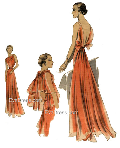 1937 Evening Gown, Cape and Slip E30-371