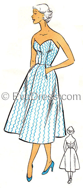 E-PATTERN 1950's French Beach Dress E384