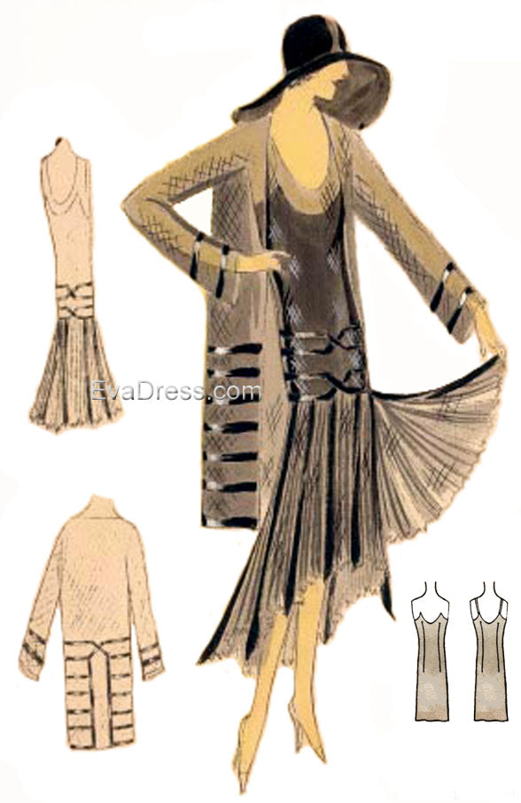 1930 Dress, Slip, Coat & Hat SE30-3891