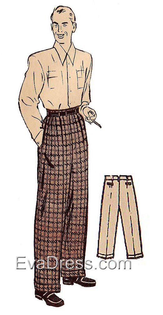 E-PATTERN 1940's Men's Trousers E3988