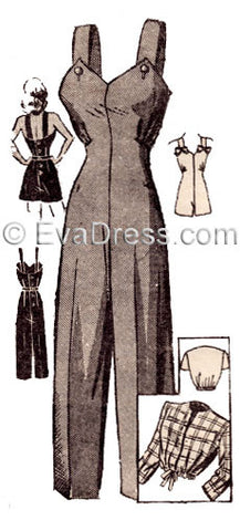 E-PATTERN 1940's Ladies' Summer Overalls, Playsuit and Jacket E4536