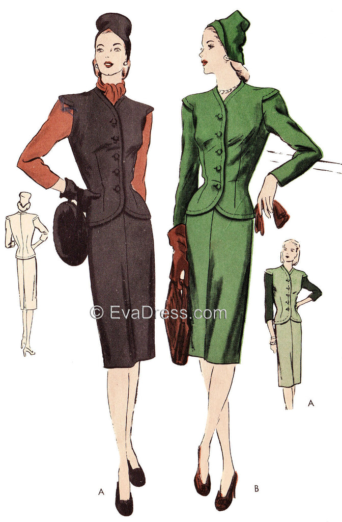 1944 Suit Dress & Scarf SE40-5307