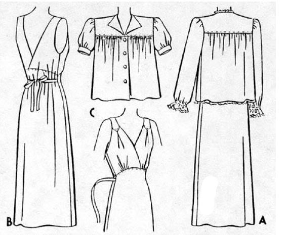 Line drawing of 1943 Night Gown & Bed Jacket NL40-5441