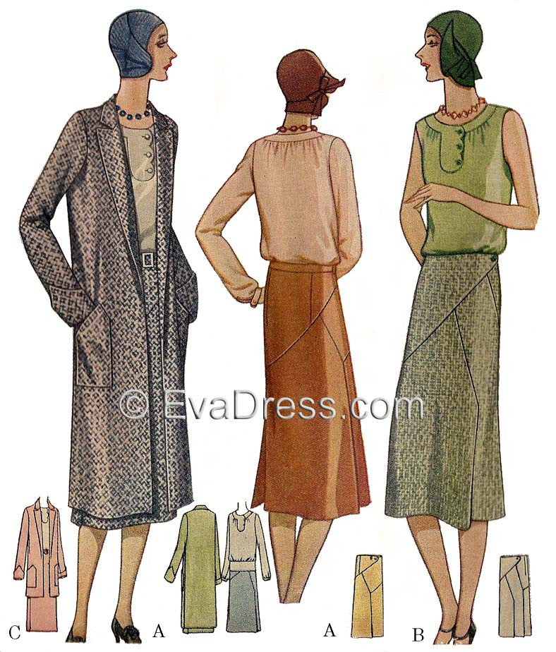 E-PATTERN 1929 Skirt, Blouse & Coat Ensemble SE20-5955
