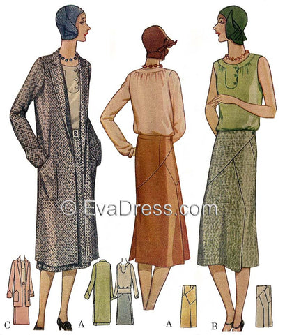 E-PATTERN 1929 Skirt, Blouse & Coat Ensemble E5955