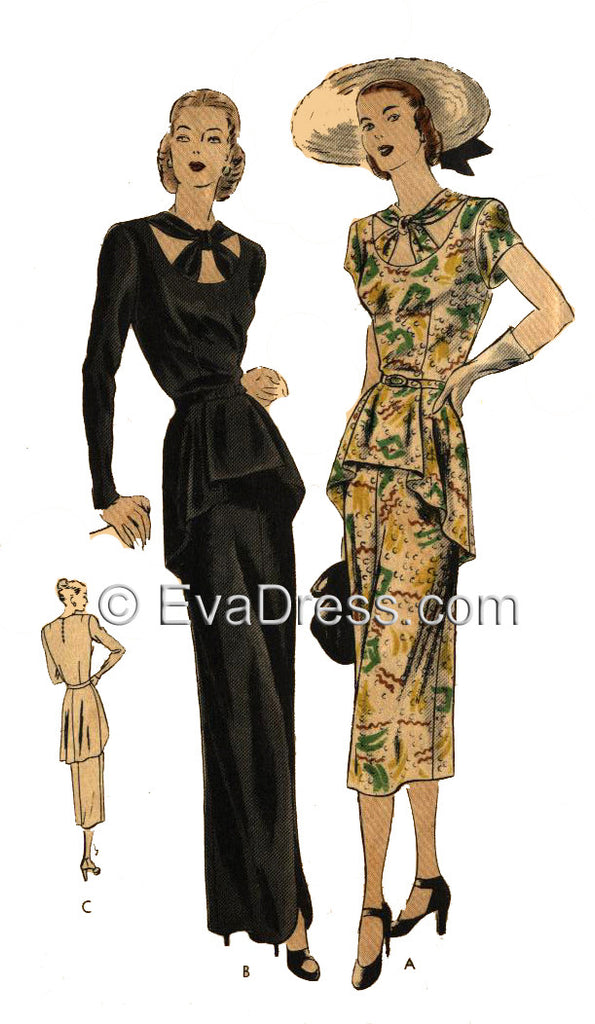 E-PATTERN 1945 Day or Evening Dress, E6111